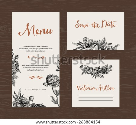 Wedding set. Menu, save the date, guest card. Black and white flowers peonies and roses. Vintage vector illustration. - stock vector