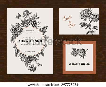 Wedding set. Menu, save the date, guest card. Black and white flowers peonies. Vintage vector illustration. - stock vector