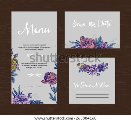 Wedding set. Menu, save the date, guest card. Colorful flowers peonies and roses on a gray background. Vintage vector illustration. - stock vector