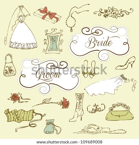 Wedding set of cute glamorous doodles and frames - stock vector