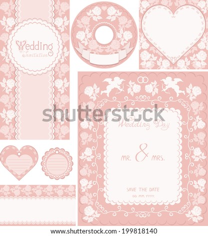 Wedding set. Pink backgrounds with roses and cupids. Ornamental frame for announcements, invitations, CD-disks, envelopes, labels, tags, greetings cards. Easily edited vector format for your project. - stock vector
