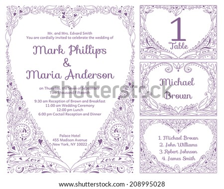 Wedding set with Invitation card, table number, guest card. Vector illustration. - stock vector
