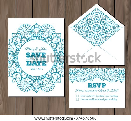 wedding set lace elements save date stock vector royalty free