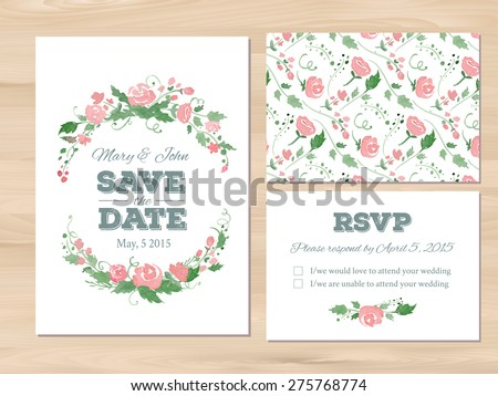 Wedding set with watercolor flowers. Save the date, RSVP card, seamless floral background. Seamless illustrator swatch for background included. Free fonts used - Nexa Rust, Alex Brush, Crimson - stock vector