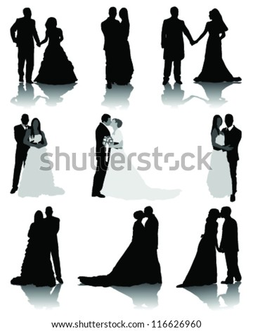 Wedding silhouettes 2-vector