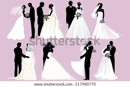 Wedding silhouettes. Vector bride and groom silhouettes. - stock vector