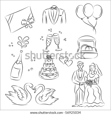 Wedding Sketch Set - stock vector