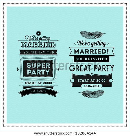 Wedding stamps typography - stock vector
