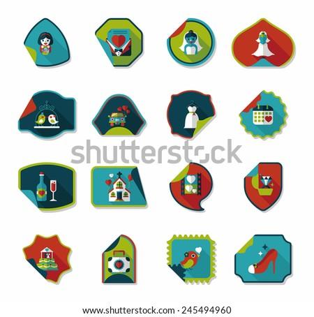 Wedding sticker flat design background set, eps10 - stock vector