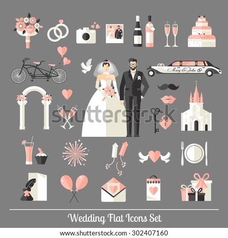Wedding symbols set. Flat icons for your wedding design. - stock vector