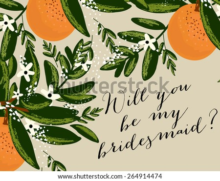 "Wedding Template invitation featuring the words ""Will you be my bridesmaid?"" - stock vector"