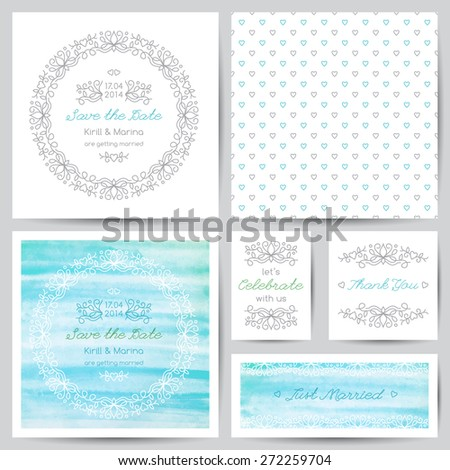 wedding templates set with floral ornate elements and watercolor backgrounds - stock vector