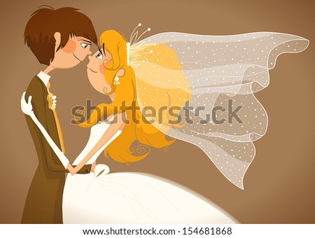 Wedding. The bride and groom look at each other. - stock vector
