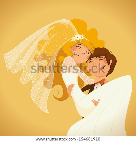 Wedding. The groom holds the bride in his arms. - stock vector
