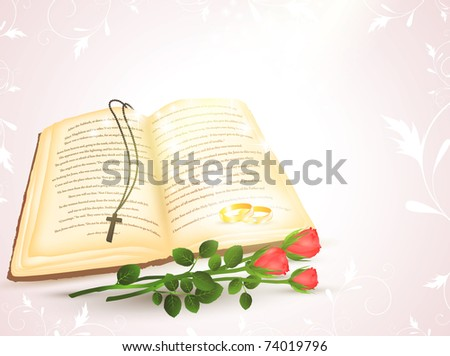 wedding theme with opened Bible, golden rings and roses - stock vector