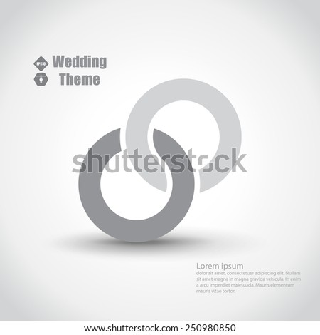Wedding theme with two intertwined rings. Light color template - stock vector