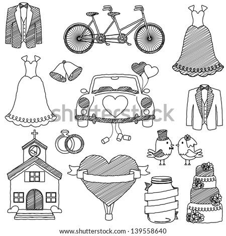 Wedding Themed Doodles - stock vector