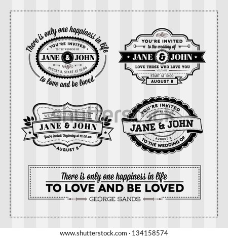 Wedding typography stamps - stock vector