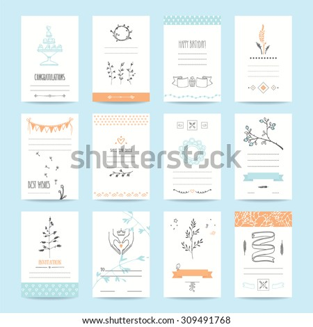Wedding, Valentine's day, birthday party invitation and greeting cards. Romantic collection of templates with cute hand drawn elements and handwritten texts. Isolated vector set. - stock vector