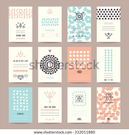 Wedding, Valentine's day, birthday party invitation, greeting cards. Hipster collection of templates with hand drawn textures, brush strokes, trendy thin line icons, geometric signs, tribal symbols. - stock vector