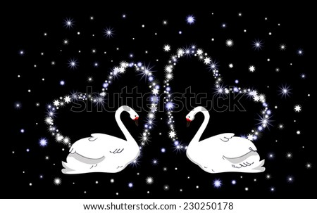 Wedding vector background with hearts and white swans - stock vector