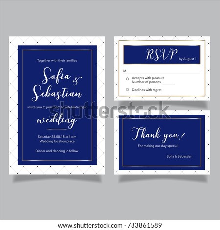 Wedding vector royal blue set invitation stock vector 783861589 wedding vector royal blue set of invitation card rsvp card and thank you card stopboris Choice Image