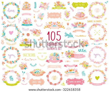 Wedding vintage elements big collection. Romantic hand drawn floral set with frames, flowers, leaves and ribbons. Romantic vector elements for card. Save the Date and Invitation. - stock vector