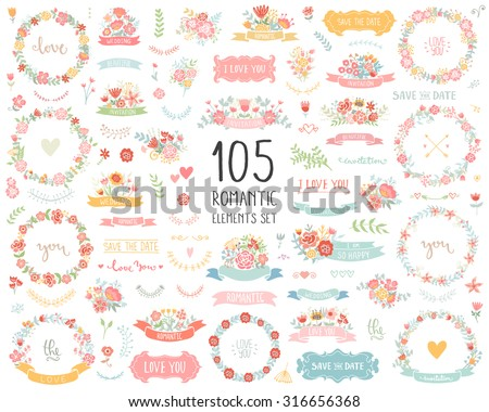 Wedding vintage elements big collection. Romantic hand drawn vector floral set with frames, flowers, leaves and ribbons. Save the Date and Invitation. - stock vector