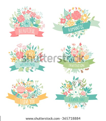Wedding vintage elements collection. Romantic hand drawn floral set with flowers, leaves and ribbons. Romantic vector elements for card. - stock vector