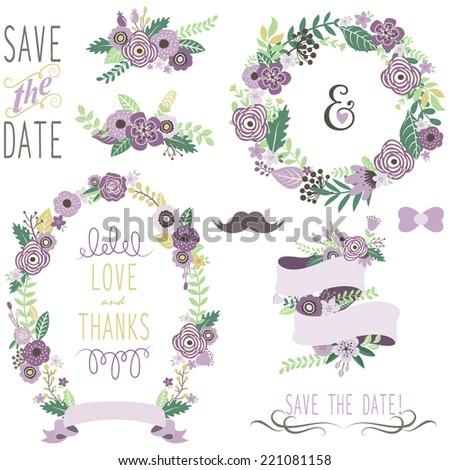 Wedding Vintage Floral Wreath - stock vector
