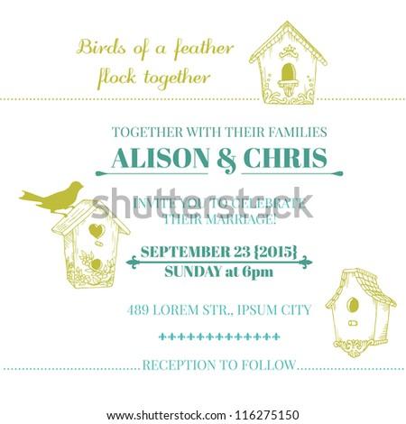 Wedding Vintage Invitation Card - in vector - stock vector