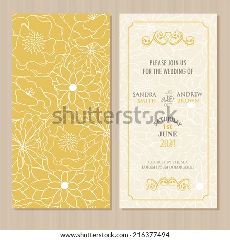 Wedding vintage invitation card or announcement - stock vector