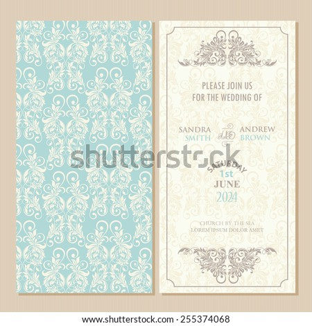 Wedding vintage invitation card or announcement with beautiful floral elements. - stock vector
