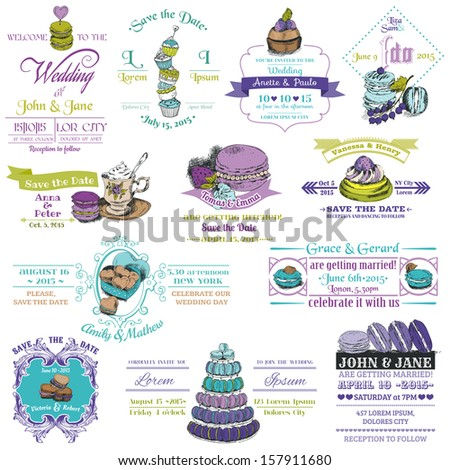 Wedding Vintage Invitation Collection - Dessert and Macaroon Theme - in vector - stock vector
