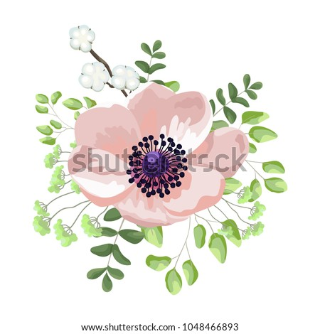 Wedding watercolor light pink anemone flower stock vector 1048466893 wedding watercolor light pink anemone flower vector invite card with floral design flowers in mightylinksfo