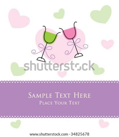wedding wine greeting - stock vector