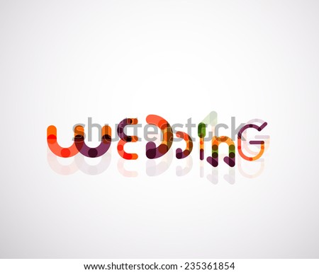 Wedding word font concept design, minimal line style - stock vector