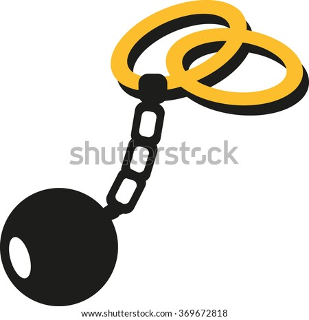 Weddings rings with shackle and iron ball prison - stock vector