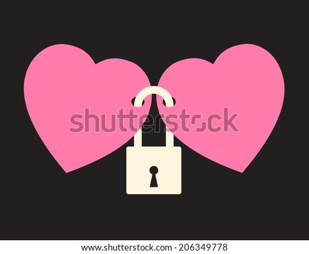 wedlock - two hearts locked with the lock - stock vector