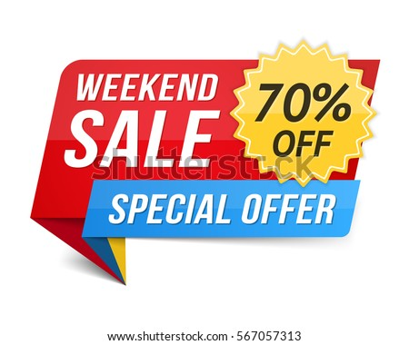 Weekend sale banner, special offer, 70 percents discount, vector eps10 illustration