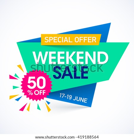 Weekend sale special offer banner, up to 50% off. Vector illustration. - stock vector