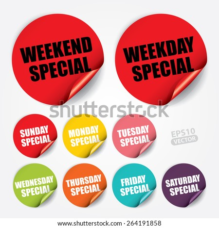 Weekend Special, Weekday Special, Sunday Special, Monday Special, Tuesday Special, Wednesday Special, Thursday Special, Friday Special, Saturday Special on Sticker and Tag - Vector  - stock vector