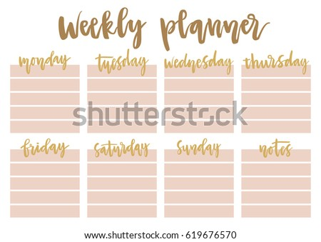 weekly daily planner a 4 template lettering stock vector 619676570