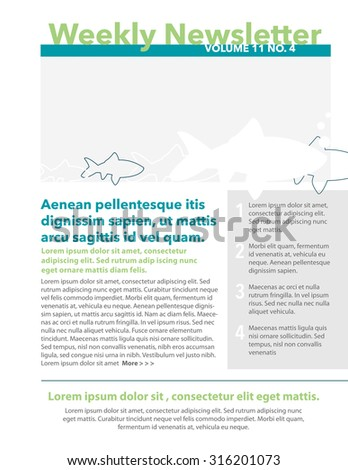 Weekly Newsletter Template Quote Numbered List Stock Vector