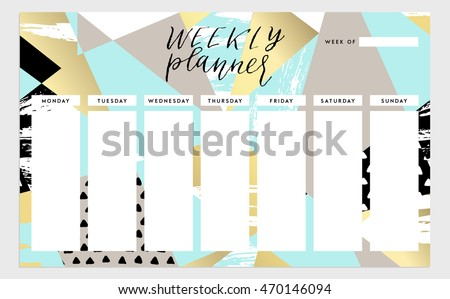 Weekly planner template organizer schedule vector stock vector weekly planner template organizer and schedule vector isolated illustration cute and trendy pronofoot35fo Gallery