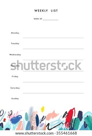 Weekly Planner Template. Organizer and Schedule with place for Notes and Goals. Vector. Isolated - stock vector