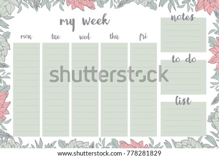 weekly planner withpink flowers green leaves stock vector royalty
