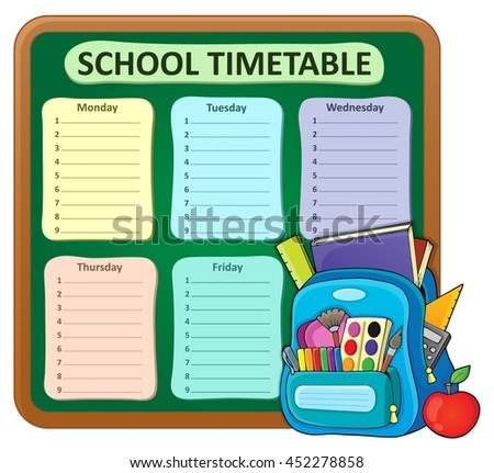 Weekly school timetable composition 5 - eps10 vector illustration. - stock vector