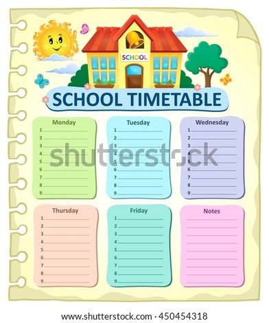 Weekly school timetable thematics 7 - eps10 vector illustration.