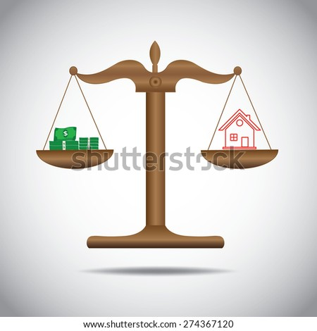 weighing or compare or exchange  money  to home concept  - stock vector